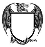 Dragon Crest Coat of Arms Heraldic Emblem Shield. A dragon medieval heraldic coat of arms crest shield emblem Stock Photos