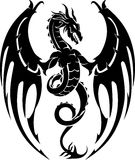 Dragon Crest. Fierce Mythical Dragon Silhouette Tattoo Royalty Free Stock Images