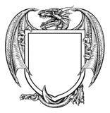 Dragon Crest Heraldic Coat dell'emblema dello schermo di armi illustrazione vettoriale