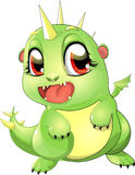 Dragon cub. The small green dragon on back pads stock illustration