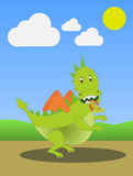 Dragon. A cute fire-breathing dragon undisturbed walks in the countryside Royalty Free Stock Photography