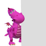 Dragon 3d cartoon with a blank frame Royalty Free Stock Images