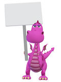 Dragon 3d cartoon with a blank sign Royalty Free Stock Photos
