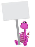 Dragon 3d cartoon with a blank sign Stock Images