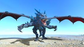 Dragon. 3D CG rendering of a dragon stock photo