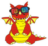 Dragon in 3d glasses Royalty Free Stock Photos