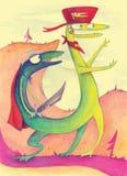 Dragon d'imagination avec deux têtes illustration stock