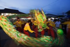 Dragon dance. Performance during chinese new year Royalty Free Stock Photos