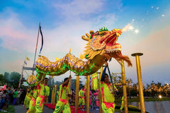 Dragon Dance in a Chinese New Year`s Celebration Stock Image