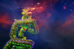 Dragon Dance in a Chinese New Year`s Celebration Stock Photo