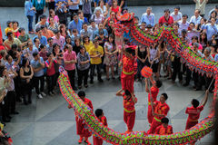 Dragon Dance during Chinese New Year Stock Photography
