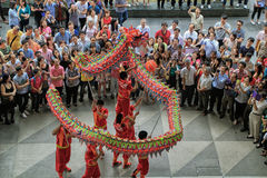 Dragon Dance during Chinese New Year Stock Photo