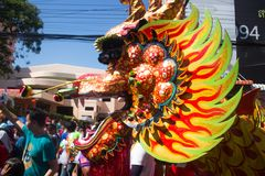 Dragon Dance in the Ghost or Spirit Festival,Thailand stock photo