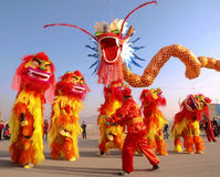 Dragon dance, lion dance Stock Photo