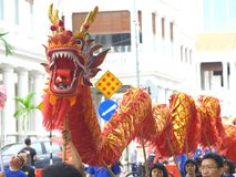 Dragon dance parade. In Penang, Malaysia Stock Photography