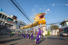 Dragon dance parade on street Stock Images