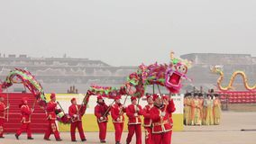 Xi`an, China -Feb 02, 2012. Dragon dance at Spring Festival stock footage