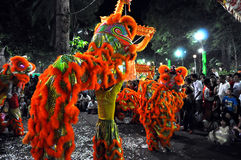 Dragon dance during the Tet Lunar New Year in Vietnam Stock Photo
