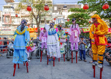 Dragon dance troupes at Tet new Year celebration in Ba Thien Hau pagoda Royalty Free Stock Images