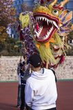 Dragon Dancers Practicing Dragon Dance in China. Nanjing ,China-November 26,2017;Few Boys Are Practicing Dragon Dance And Preparing For Chinese New Year in Royalty Free Stock Photography