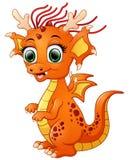 Dragon de bébé de bande dessinée d'isolement sur le fond blanc Photos stock