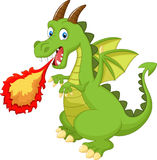 Dragon de bande dessinée avec le feu Photos libres de droits