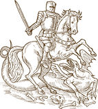 Dragon de chevalier de George de saint Image libre de droits