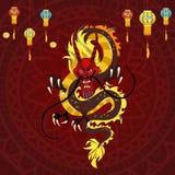 Dragon de chinois traditionnel, symbole antique d'Asiatique ou culture de porcelaine, décoration pour la célébration de nouvelle  Images libres de droits
