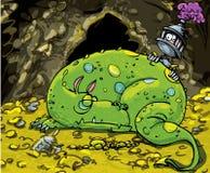 Dragon de dessin animé dormant sur une pile d'or Photographie stock