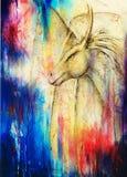 Dragon de dessin au crayon et fond abstrait de couleur Photo libre de droits