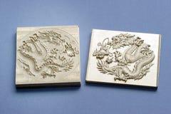 Dragon de gravure photographie stock