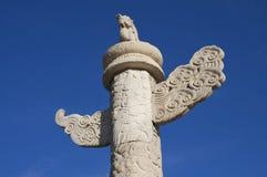 Dragon de marbre de pilier de Pékin, porcelaine Photographie stock libre de droits