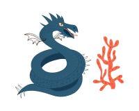 Dragon de mer Caractère d'animal de bande dessinée Illustration de vecteur d'isolement sur le fond blanc images stock