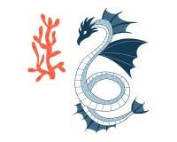 Dragon de mer Caractère d'animal de bande dessinée Illustration de vecteur d'isolement sur le fond blanc photo libre de droits