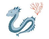 Dragon de mer Caractère d'animal de bande dessinée Illustration de vecteur d'isolement sur le fond blanc photos libres de droits