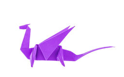 Dragon de pourpre d'origami Photographie stock libre de droits