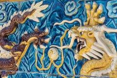 Dragon de regard fâché au parc d'attractions d'Aventura de port, Espagne Photographie stock libre de droits