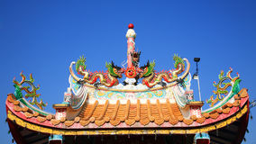 Dragon decorated on chinese style shrine's roof Stock Photography
