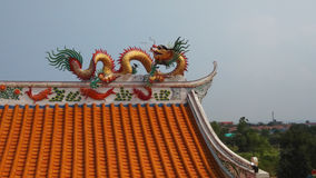Dragon decorated at the roof of Chinese shrine in Thailand Stock Photography