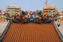 Dragon decorated at the roof of Chinese shrine in Thailand Royalty Free Stock Images