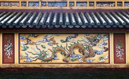 Dragon decoration in Imperial Palace in Hue, Vietnam royalty free stock photo