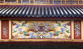 Dragon decoration in Imperial Palace in Hue, Vietnam stock image
