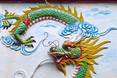 Dragon decoration of a temple in Vietnam stock photography