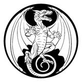 Dragon Design. A dragon illustration in a circular design Stock Image