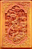 Dragon design on the wooden door Royalty Free Stock Photo