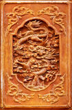 Dragon design on the wooden door Royalty Free Stock Images