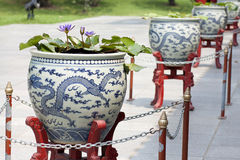 Dragon designed pots. stock photos