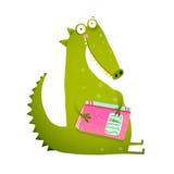 Dragon or dinosaur cartoon reading book Stock Photo