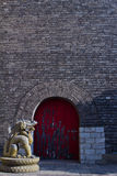 Dragon and the door. Dragon guard the  red gate Royalty Free Stock Photography