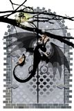 Dragon and door. black fire dragon. Guards the gate  illustration. tree silhouette with a lamp lantern Stock Image